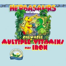 Herbasaurs Chewable Multiple Vitamins Plus Iron (Kramtomi vitazaurai su multivitaminais plius geležimi)